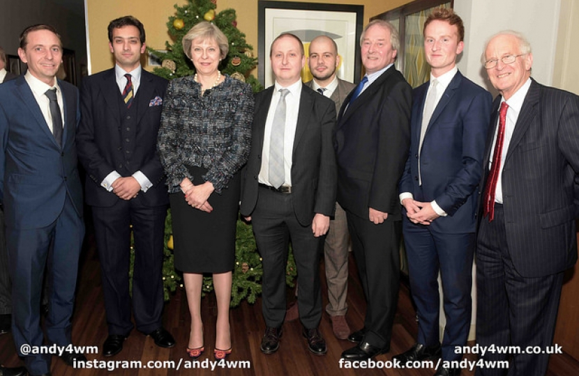 The Prime Minister with the Edgbaston Conservative Association Officers (left to right: Cllr Bruce Lines, Dr Neil Shastri-Hurst, Rt Hon Theresa May MP, Mr Ian Colpman, Mr James Boran, The Lord Whitby, Mr Oli Dixon, Guy Hordern MBE